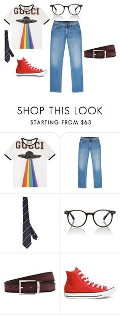 """nerdiest boy looking for cool girl"" by bulletp on Polyvore featuring Gucci, Corneliani, Oliver Peoples, Montblanc, Converse, men's fashion and menswear"