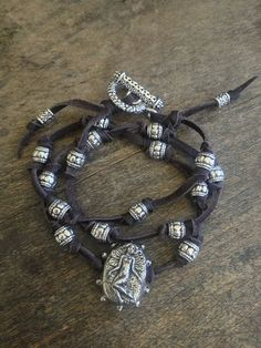 """Multi Knotted Leather Wrap - Fairy """"Forget Me Not"""" Bracelet, Rustic Silver $28.00"""