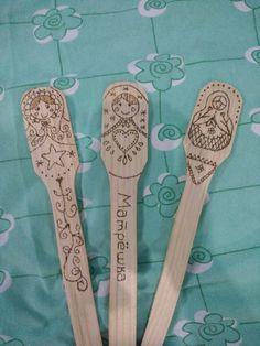Cuchara de madera matryoshka con pirograbado, matryoshka spoon woodburning.