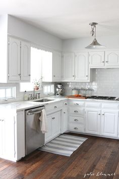 Rental hardware is basic . . . your style, not so much. Switching out cabinet pulls and bathroom hardware will make a huge difference. Just remember to keep the original pieces to swap back in before moving out.