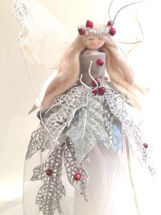 Bespoke silver holly berry fairy Christmas Cone Based Tree Topper.
