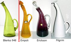 Blenko 948 bent neck decanter compared with Empoli, Erickson, and pilgrim