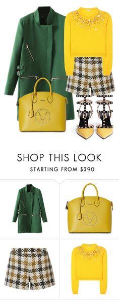 """Valentino in yellow"" by subvilli ❤ liked on Polyvore featuring Mario Valentino, Alice + Olivia, Miu Miu, Valentino, yellow, GREEN, valentino and coat"