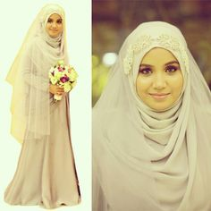 Muslim Wedding Dress *i think*. Bridal Hijab, Bridal Dresses, Designer Wedding Dresses, Wedding Gowns, Wedding Hijab, Wedding Reception, Beautiful Hijab, Beautiful Dresses, Malay Wedding Dress