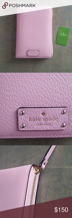 """New Kate Spade Zip Around Planner Kate Spade Wellesley  Zip Around Personal Organizer  Zip around closure with leather pull. Inside multi-function slip pockets, 8 card slots and 1 pen slot.  Fabric lining. Gold tone hardware.  Approx 8"""" x 5.5"""" x 2""""  2018 Model ( August 2017-December 2018) Light pink color kate spade Accessories"""