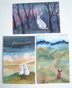 Art Postcards - Rabbits in Spring - Set of Six White Bunnies, Rabbit Pictures, Funny Bunnies, Art Techniques, Fairy Lights, My Images, Postcards, Vibrant Colors, Bunny Rabbits
