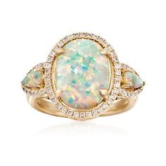 Ross-Simons - Opal and .35 ct. t.w. Diamond Ring in 14kt Yellow Gold - #863120