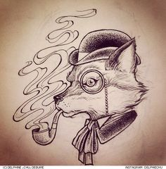 Pics For > Fox Illustration Tattoo