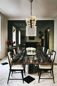 This dark marble dining table would steal the show in any modern dining room project. Discover other stunning dining tables like this one by clicking the link. Dining Room Design, Dining Room Furniture, Dining Room Table, Dining Rooms, Room Chairs, Dining Chairs, Dining Decor, Bar Chairs, Office Chairs