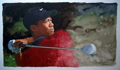 "Tiger Woods by artist Glen Green 25""x14"""