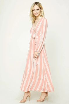 Forever 21 Contemporary - A woven maxi dress featuring an allover striped pattern, wrap-front with self-tie straps, a surplice V-neckline, and long sleeves with self-tie straps.
