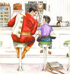 """Chocloate Egg Cream"" Based on Norman Rockwell's Cover to The Saturday Evening Post titled ""The Runaway"" Featuring Captain Marvel, Shazam, and other Fawcett comic characters"