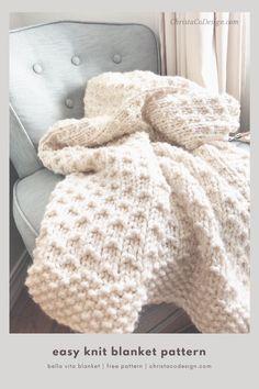 Easy Blanket Knitting Patterns, Easy Knit Baby Blanket, Free Baby Blanket Patterns, Knitting Baby Blankets, Chunky Knit Throw Blanket, Beginner Knitting Patterns, Blanket Crochet, Knitting For Beginners, Knit Patterns