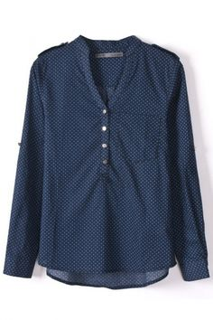 Dark Blue Dot Print V-Neck Shirt