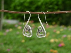 Silver Spiral Earrings The Spiral Triangle by SmileHillTribe