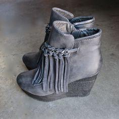 sbicca vintage collection zepp wedge fringe ankle bootie (more colors)