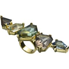 Alexis Bittar Bel Air Gold Xl Five Stone Ring ($242) ❤ liked on Polyvore