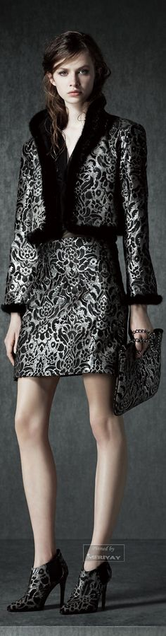 Love the fabric, not short skirt.Would make it a more elegant knee length. Alberta Ferretti.Pre-Fall 2015.