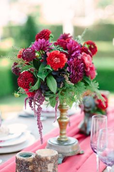Lavish Dahlia Wedding Centrepiece