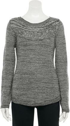 Women's Croft & Barrow Cable-Knit Yoke Boatneck Sweater