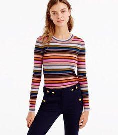 9.16 rainbow stripe (J Crew rainbow stripe sweater in merino wool sunset multi)