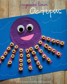 cupcake liner octopus craft – ocean kid craft – crafts for kids- kid crafts – ac… – Crafts for kids – Kids Craft & Activities Daycare Crafts, Preschool Crafts, Fun Crafts, Kids Arts And Crafts, Snowman Crafts, Kindergarten Crafts Summer, Crafts For Babies, Arts And Crafts For Kids Toddlers, Train Crafts