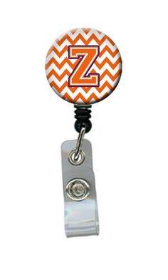 Letter Z Chevron Orange and Regalia Retractable Badge Reel CJ1062-ZBR