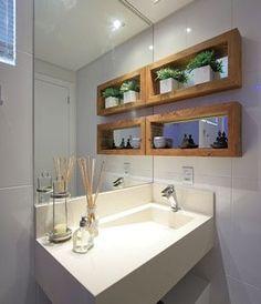 Love the mirror backed shelves. Bathroom Design Small, Bath Design, Modern Bathroom, Bathroom Renos, Bathroom Interior, Mini Loft, Bois Diy, Interior Decorating, Interior Design