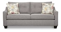 Dallas Sofa, with its simple, contemporary design and stylish features, brings both comfort and function into your home. The ski-sloped track arms and tapered legs contribute to the overall modern feel while the accent pillows add color and depth. Other group pieces include a matching loveseat, chair and ottoman and an accent chair that matches the sofa's pillow fabric. Custom orders are not available with this collection.