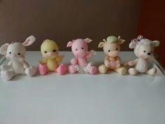 Farm animals - bunny, chick, pig, cow, lamb
