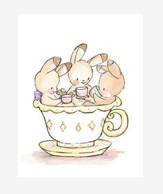 Tea Party in a Teacup LEMON. PRINT 8X10. Children by LoxlyHollow