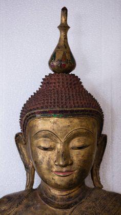 "burmese gold artifacts and buddhas | Burma, 19th Century monumental gold gilt seated Buddha 67"" high ! For ..."