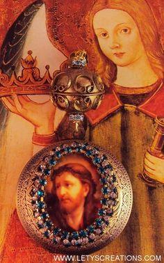 Vintage and New Jesus Cameo Catholic Locket Shrine Religious Altered Art Pendant www.letyscreations.com