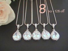 Set of 8 12% Off Crystal Necklace for Bridesmaids, Bridal Party Gifts, Cubic Zirconia Necklace, Bridesmaid Gift Ideas, Wedding Jewelry Set