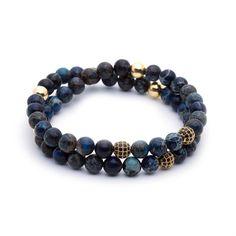 Yellow Gold Diamond Balls & Dark Blue Sea Sediment Imperial Jasper Double Bead Bracelet