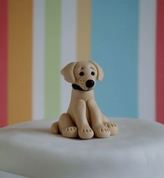 Bildergebnis für how to make a fondant labrador puppy face Labrador Retriever, Golden Retriever, Retriever Puppies, Fondant Dog, Fondant Animals, Fondant Cakes, Dog Cake Topper, Cake Toppers, Chocolate Lab Puppies
