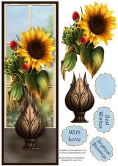 Vase Of Sunflowers With Decoupage Large DL on Craftsuprint designed by Anne Lever - This lovely large DL sized topper features a fabulous vase of sunflowers in front of a window. It has decoupage, three greetings and a blank greetings tile. - Now available for download!