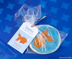 Goldfish theme birthday party favors - printable favor tags from Chickabug First Birthday Party Favor, Birthday Tags, Birthday Party Decorations, Boy Birthday, Birthday Ideas, Goldfish Party, Super Party, Party Planning, Shark Party