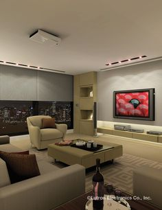 Now this is the ultimate family room for the big game! Watch your favorite team glare-free with Serena remote controlled shades. http://www.serenashades.com/media-room-idea-gallery.