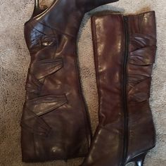 Gorgeous brown boots Bakers leather boots, with gorgeous crisscross detail.....good condition Bakers Shoes Heeled Boots