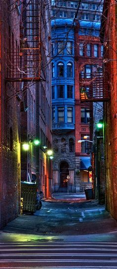 Pioneer Square alley at dusk in Seattle, Washington