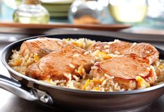 Thisspeedy skillet dish features browned boneless pork chops and rice simmered in an easy-to-makesweet and sour sauce.