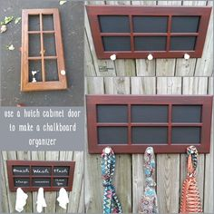 This project is so easy, just a little paint and some scrap lumber to make this 6 pane cabinet door coat rack organizer. I LOVE the color!