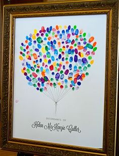 This fingerprint art was originally made for our Grandmother's Funeral, we love it and it was such a neat way to see how much her family had grown in her lifetime! It would also be really neat to use at Family Reunions or Weddings.