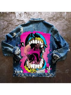 Painted Denim Jacket, Painted Jeans, Painted Clothes, Custom Clothes, Diy Clothes, Hipster Women, Denim Art, Punk Outfits, Jacket Style