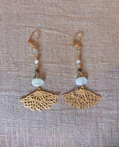 Boucles d'oreille Eventaille or et vert par Charlotte Guillard=Apache=