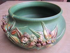 Vintage Sayers Australian Pottery Gumnut Baby Gum Leaves Jardiniere Bowl