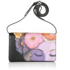 Prada  Bandoliera Saffiano Print Lisa Nero  Bag ($925) ❤ liked on Polyvore featuring bags, leather tote purse, handbags totes, prada handbags, genuine leather tote and prada tote