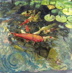 Koi Well - batik art - Janet Searfoss