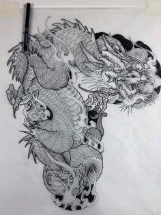 Dragon Tattoo Full Back, Dragon Tattoo Sketch, Asian Dragon Tattoo, Dragon Tattoo Arm, Dragon Sleeve Tattoos, Japanese Dragon Tattoos, Japanese Tattoo Art, Japanese Tattoo Designs, Tattoos Skull